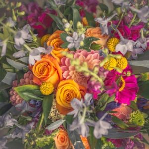 Close up of bright and colourful bridal bouquet by The Lost Flower Shed