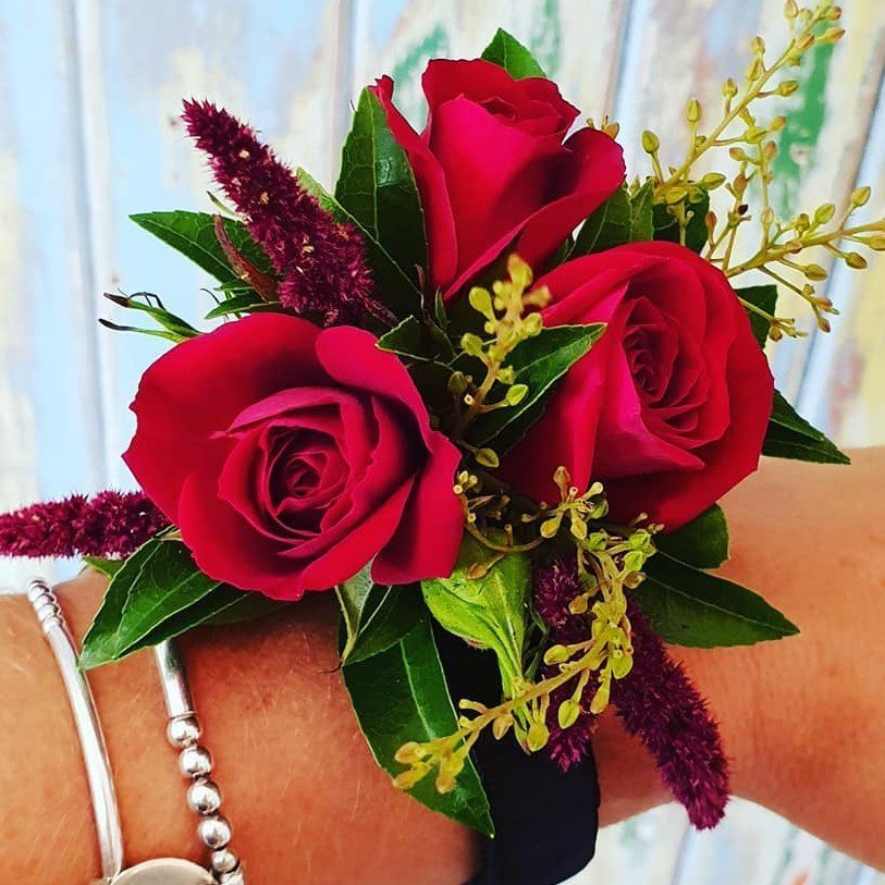 The Lost Flower Shed Red Rose School Ball Corsage