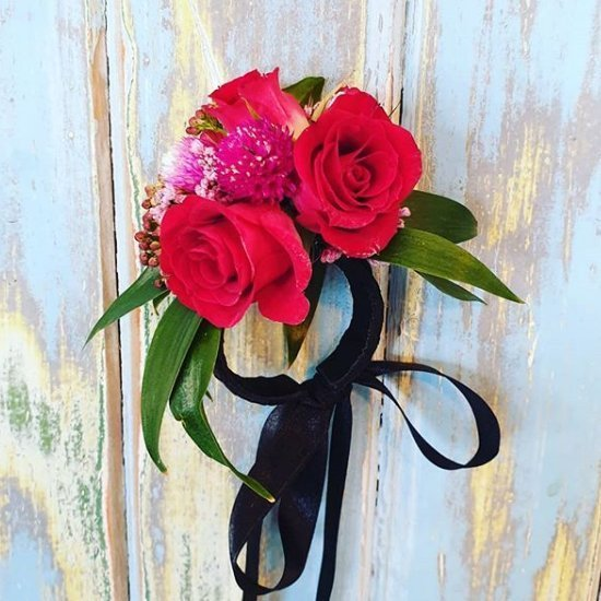 The Lost Flower Shed Red and Pink School Ball Corsage