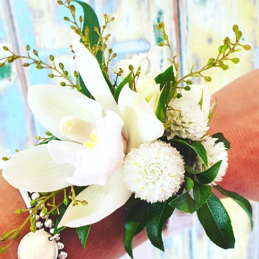 The Lost Flower Shed White Orchid School Ball Corsage