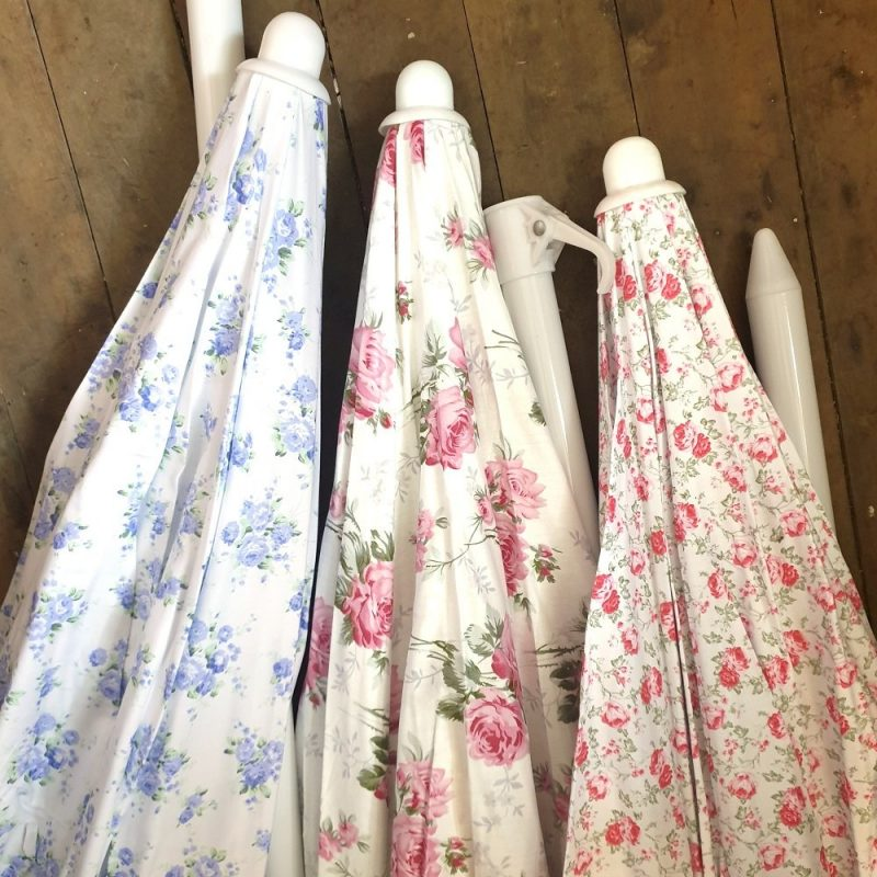 Vintage Sun Umbrella with pink floral print The Lost Flower Shed
